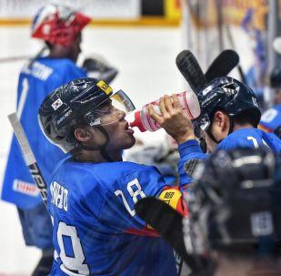 Матч сборных Кореи и Литвы на чемпионате мира по хоккею первого дивизиона