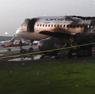 Шереметьево әуежайында өртенген Аэрофлот компаниясының Sukhoi Superjet-100 ұшағы