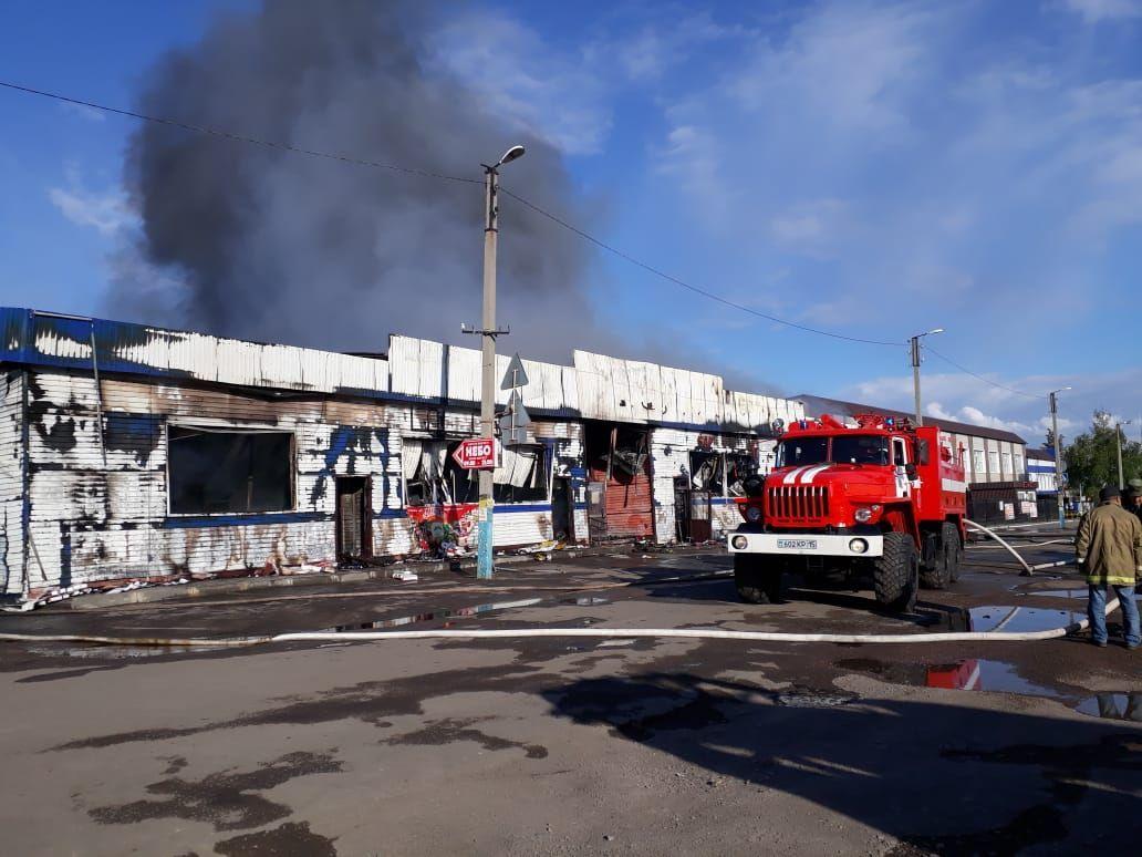 Пожар в ТЦ в селе Саумалколь