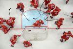 Игроки сборной России перед началом матча в матче группового этапа чемпионата мира по хоккею 2019 в Братиславе