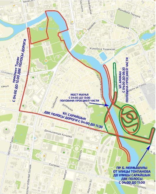 Схема перекрытия улиц для BI марафона