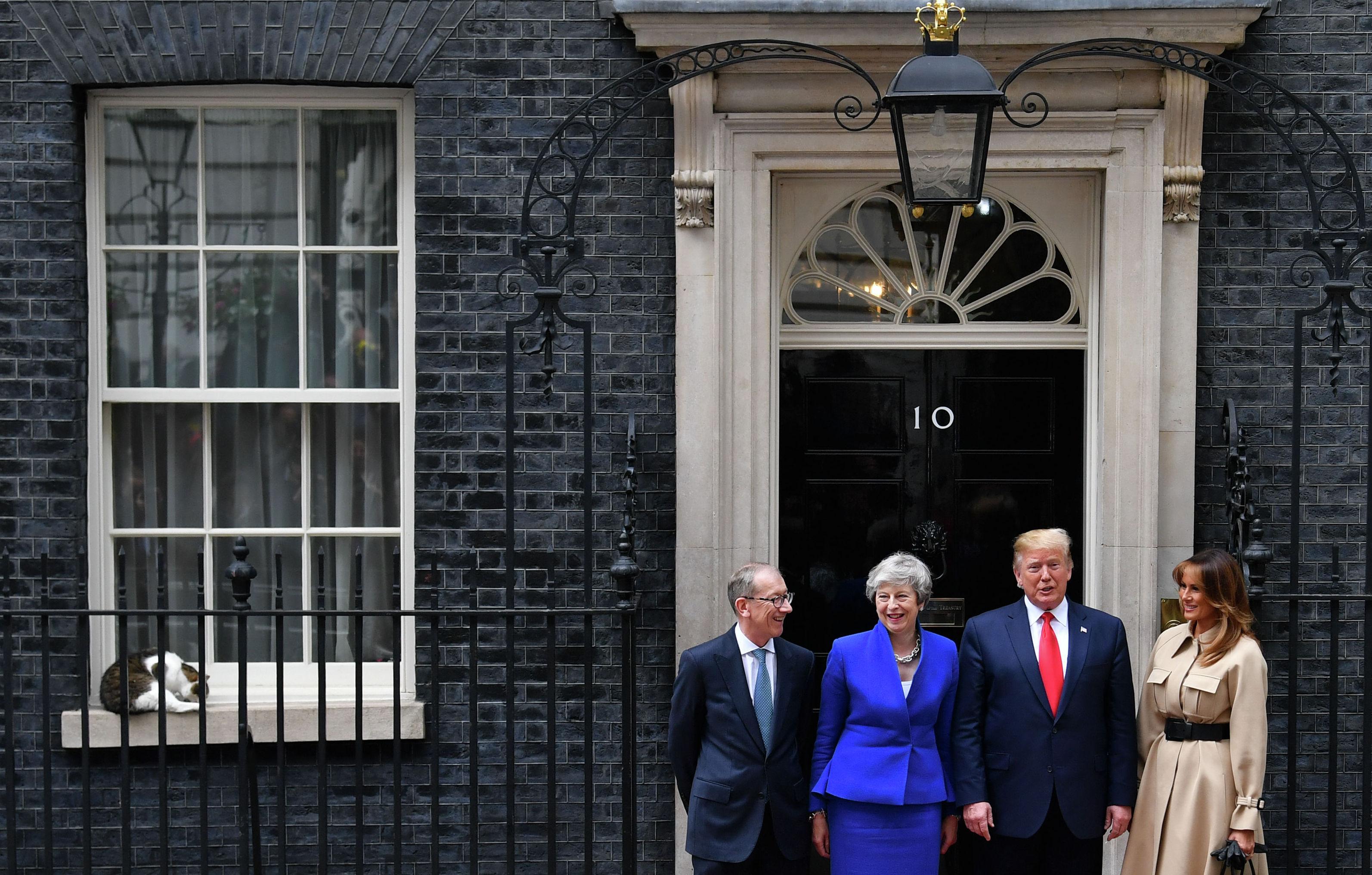 Кот Ларри сидит на подоконнике на Даунинг-стрит в то время, когда Тереза Мэй и ее муж Филип Мэй приветствуют президента США Дональда Трампа и первую леди США Меланию Трамп