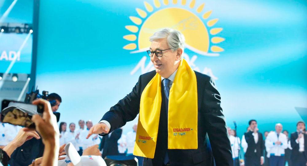 Президент РК Касым-Жомарт Токаев на форуме партии Nur Otan