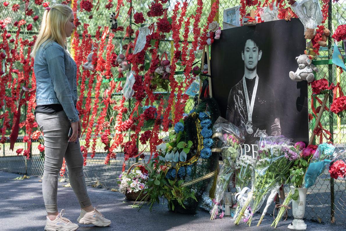 Место гибели Дениса Тена в Алматы