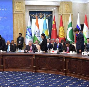 Руководители государств-членов ШОС подводят итоги заседания Совета глав государств-членов в Бишкеке 14 июня 2019 года