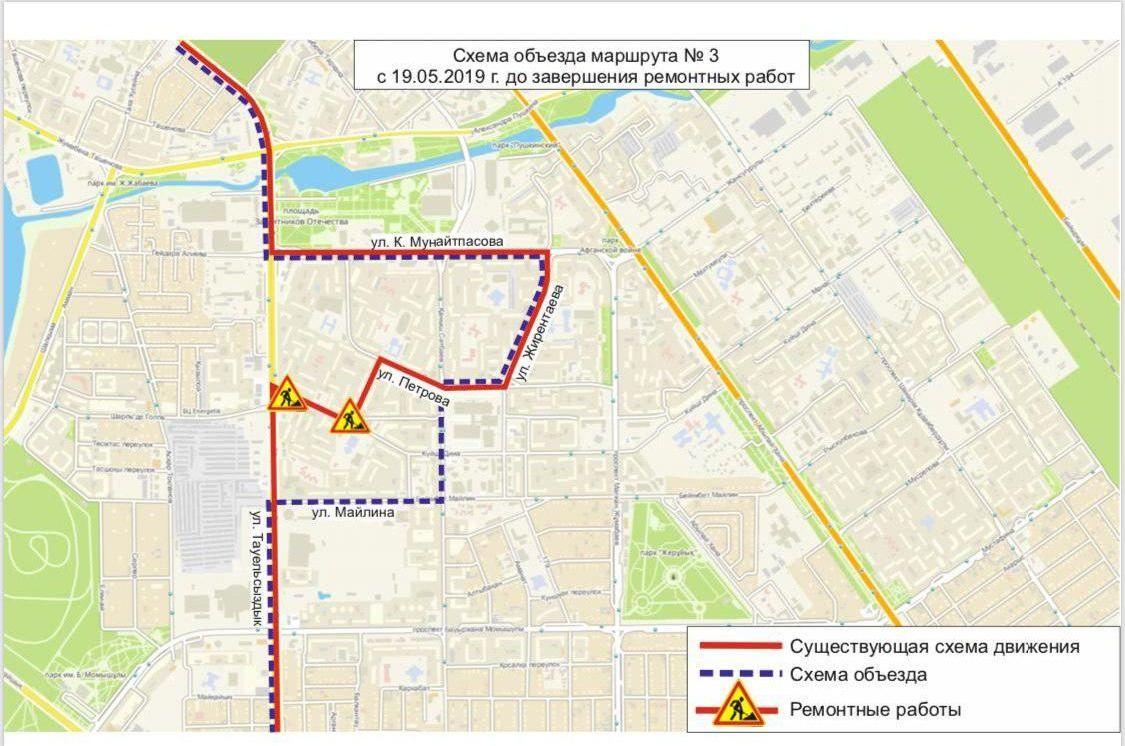 Схема движения автобусного маршрута №3