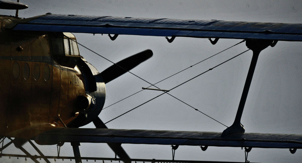 Самолет Ан-2 опрыскивает поля ядохимикатами, архивное фото