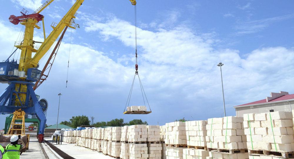 Погрузка камня-ракушечника в порту Баутино