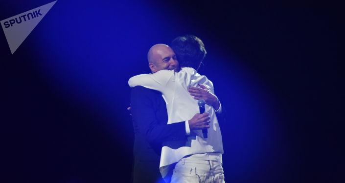 Димаш и Игорь Крутой на концерте в Нур-Султане
