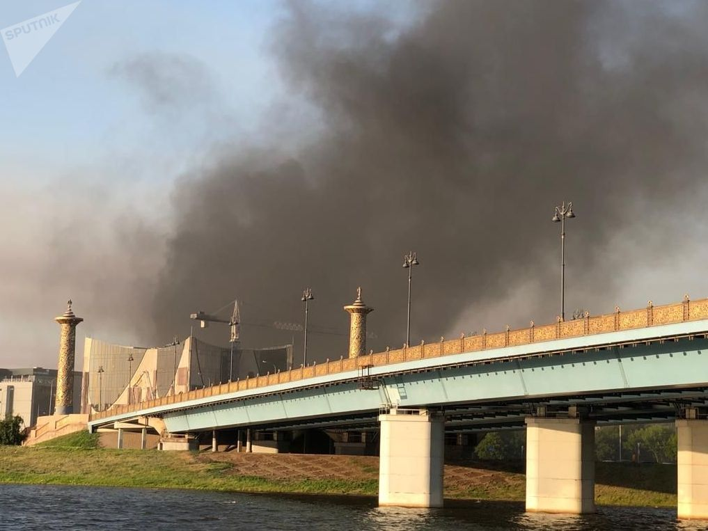 Дым за мостом в Нур-Султане