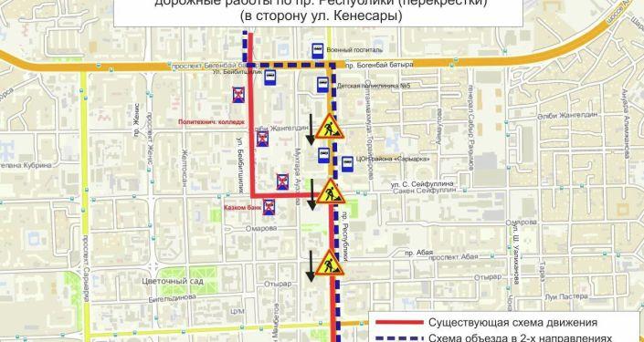 Схема объезда маршрутов № 10. Дорожные работы по пр. Республики (перекрестки)  (в сторону ул. Кенесары)