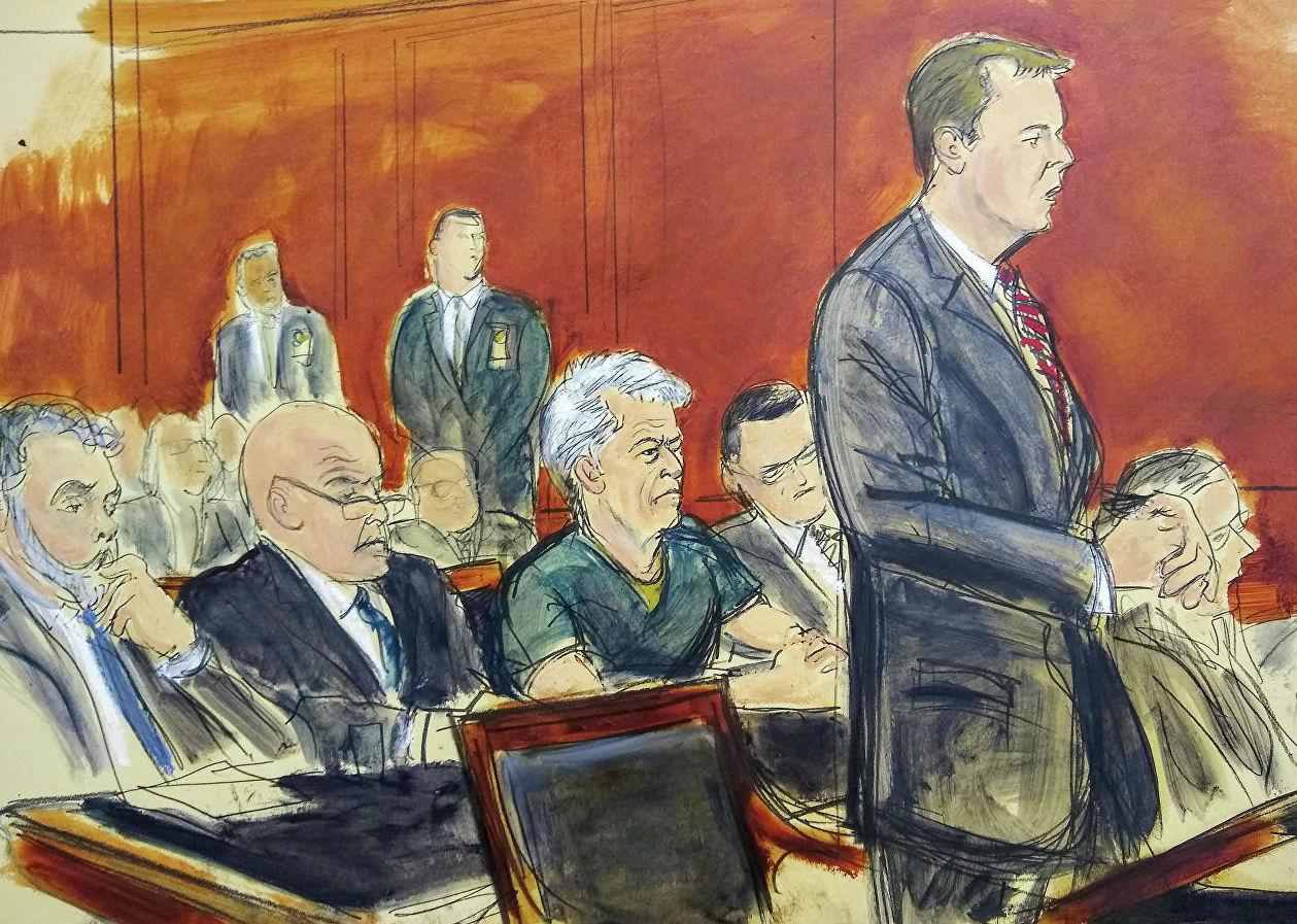 Рисунок судебного заведания , на котором помощник прокуроров США Алекс Росмиллер выступает во время предъявления обвинения Джефри Эпштейну