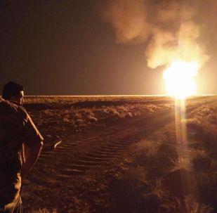 Пожар на участке газопровода Газли - Шымкент
