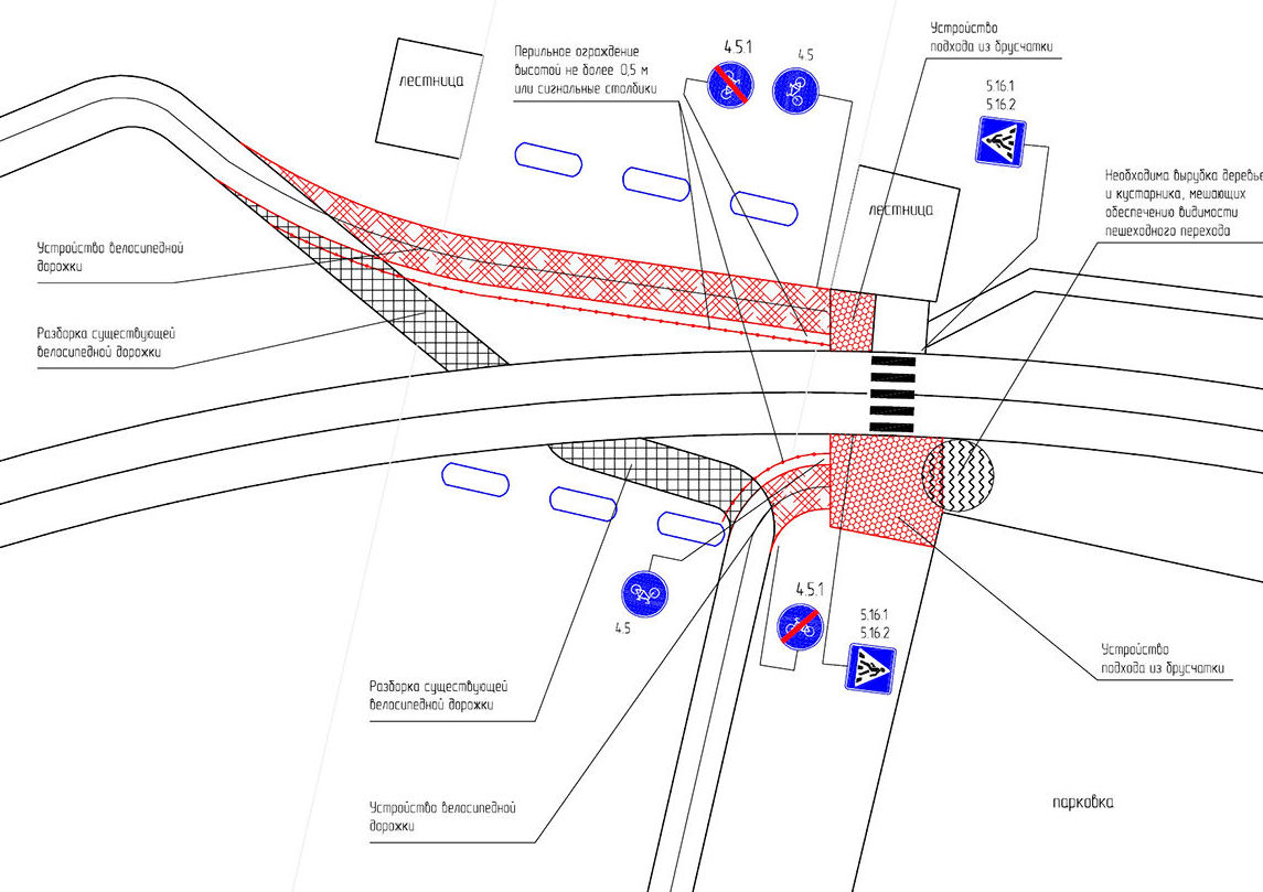 Схема для безопасного перехода пешеходов под мостом Архар