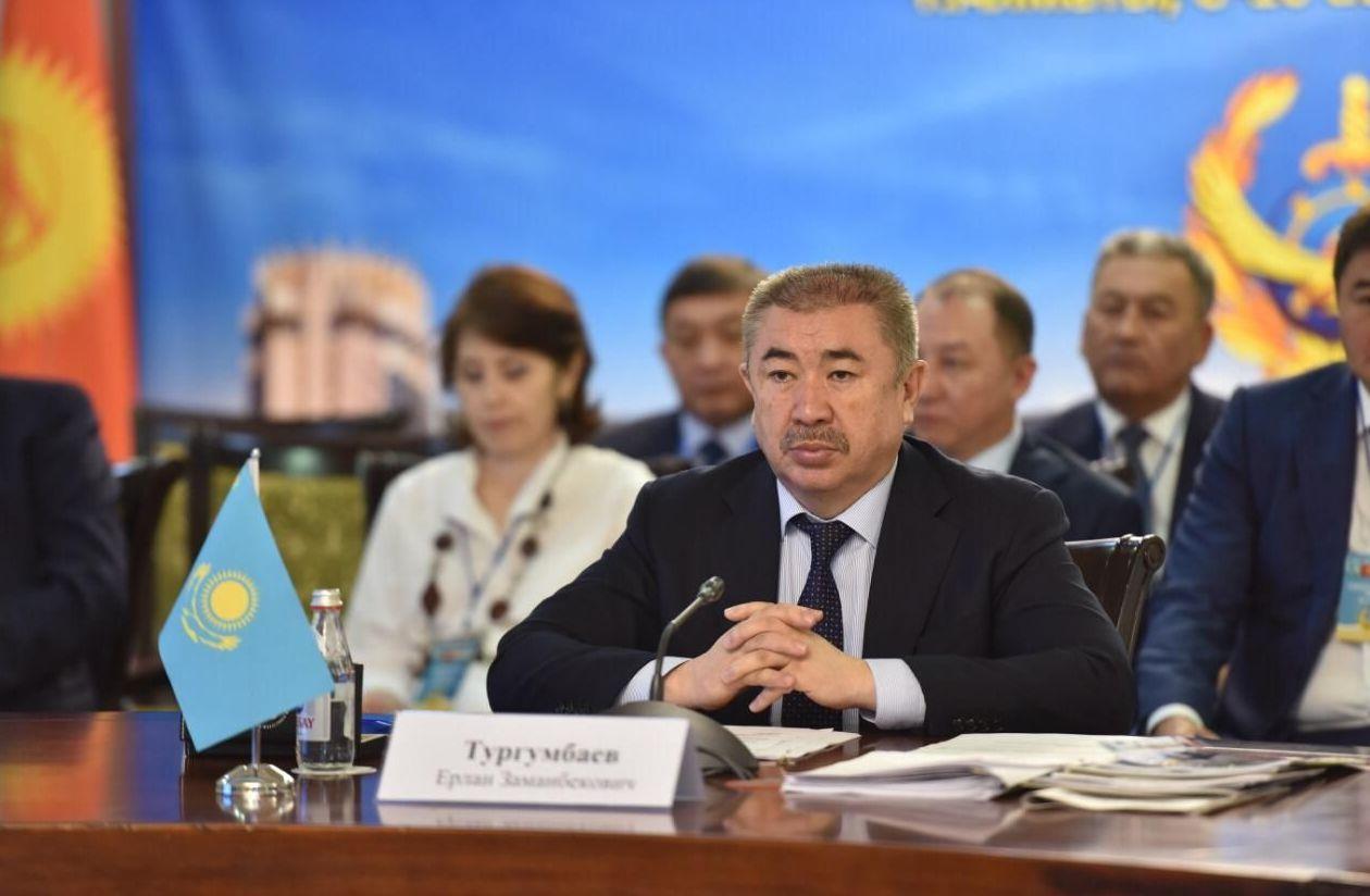 Министр внутренних дел Ерлан Тургумбаев на совещании глав внутренних дел стран Казахстана, Кыргызстана, Таджикистана и Узбекистана