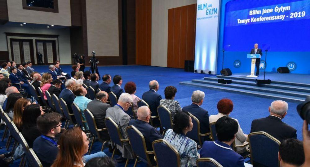 Касым-Жомарт Токаев выступает на августовской конференции 2019