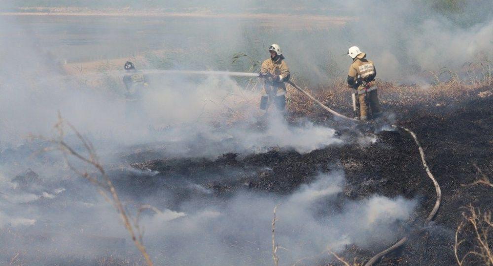 Тушение пожара силами департамента по чрезвычайным ситуациям, архивное фото