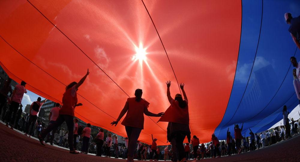 Флаг-рекордсмен флешмобы Ресейдің рекордтар кітабына енді