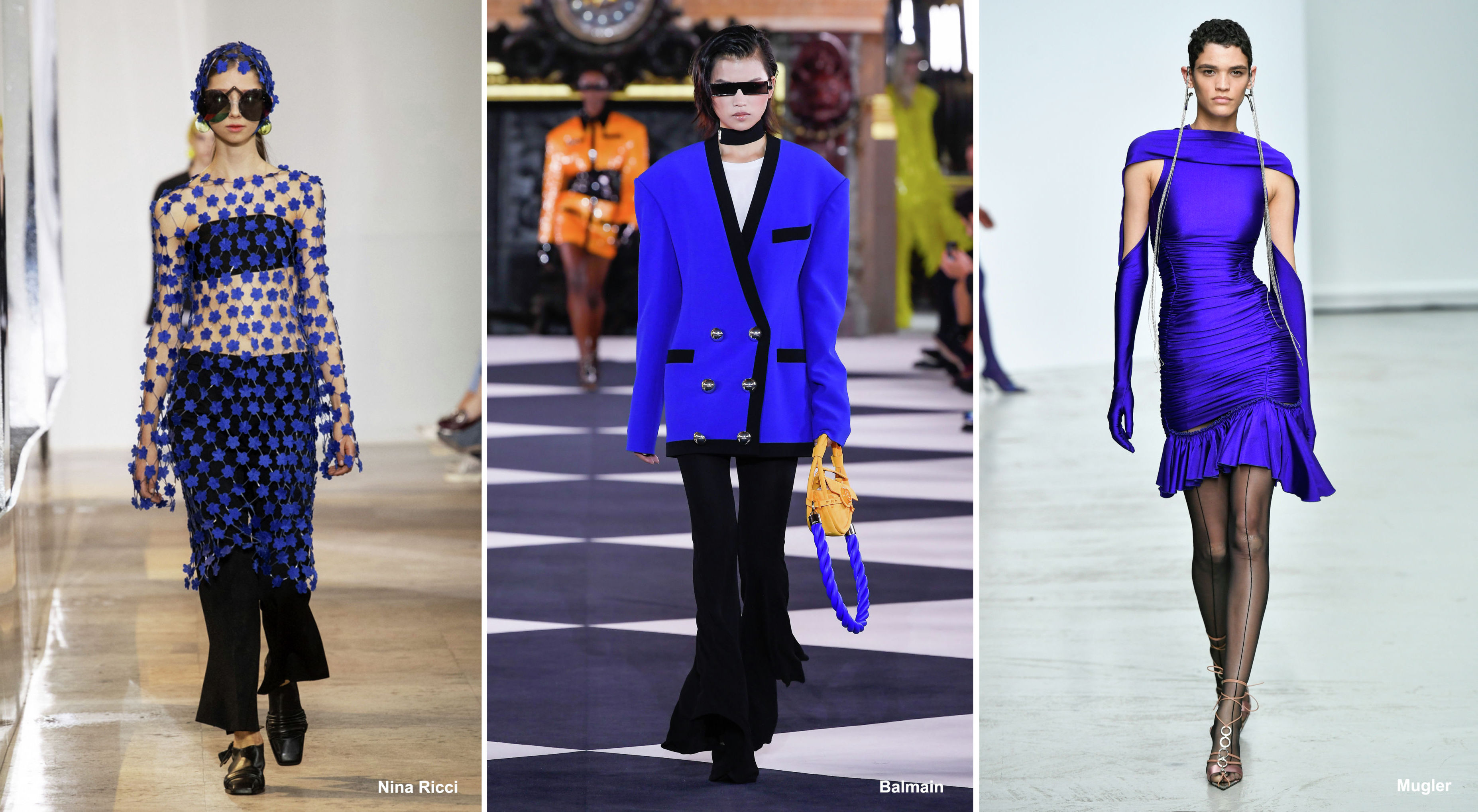 Оригинальный оттенок синего — International Klein Blue в коллекциях Nina Ricci, Balmain, Mugler весна-лето – 2020