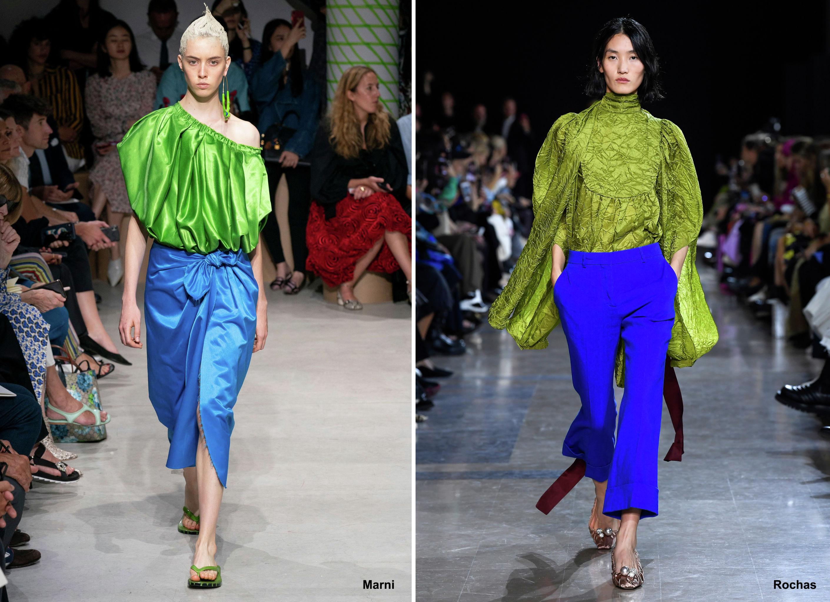 Сине-зеленые вариации в коллекциях Marni и Rochas, весна-лето – 2020