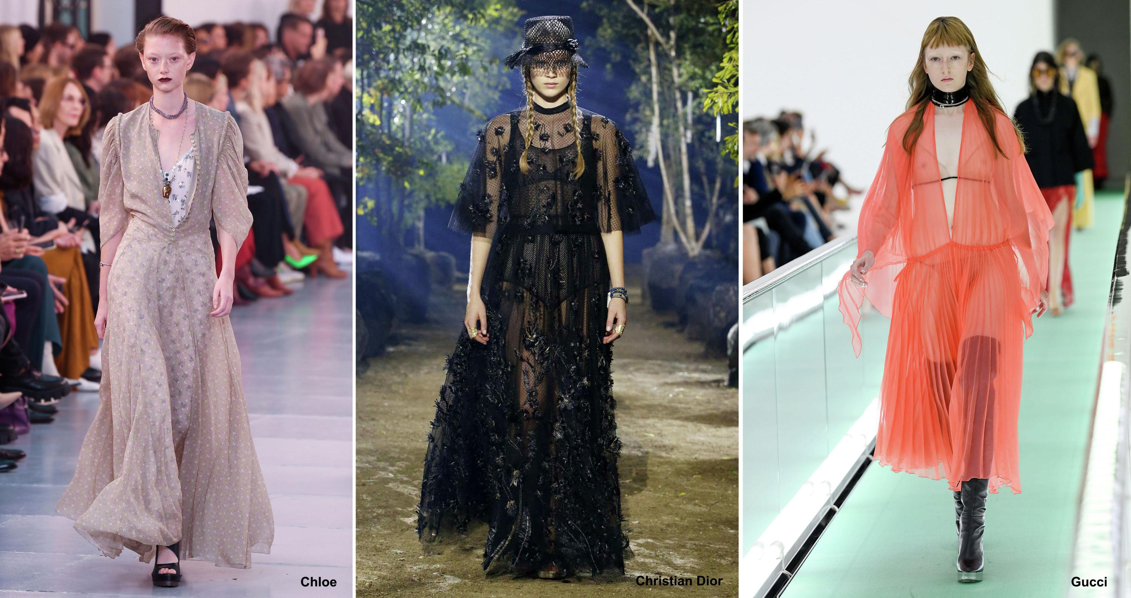 Прозрачные платья из коллекций Chloe, Christian Dior и Gucci, весна-лето – 2020