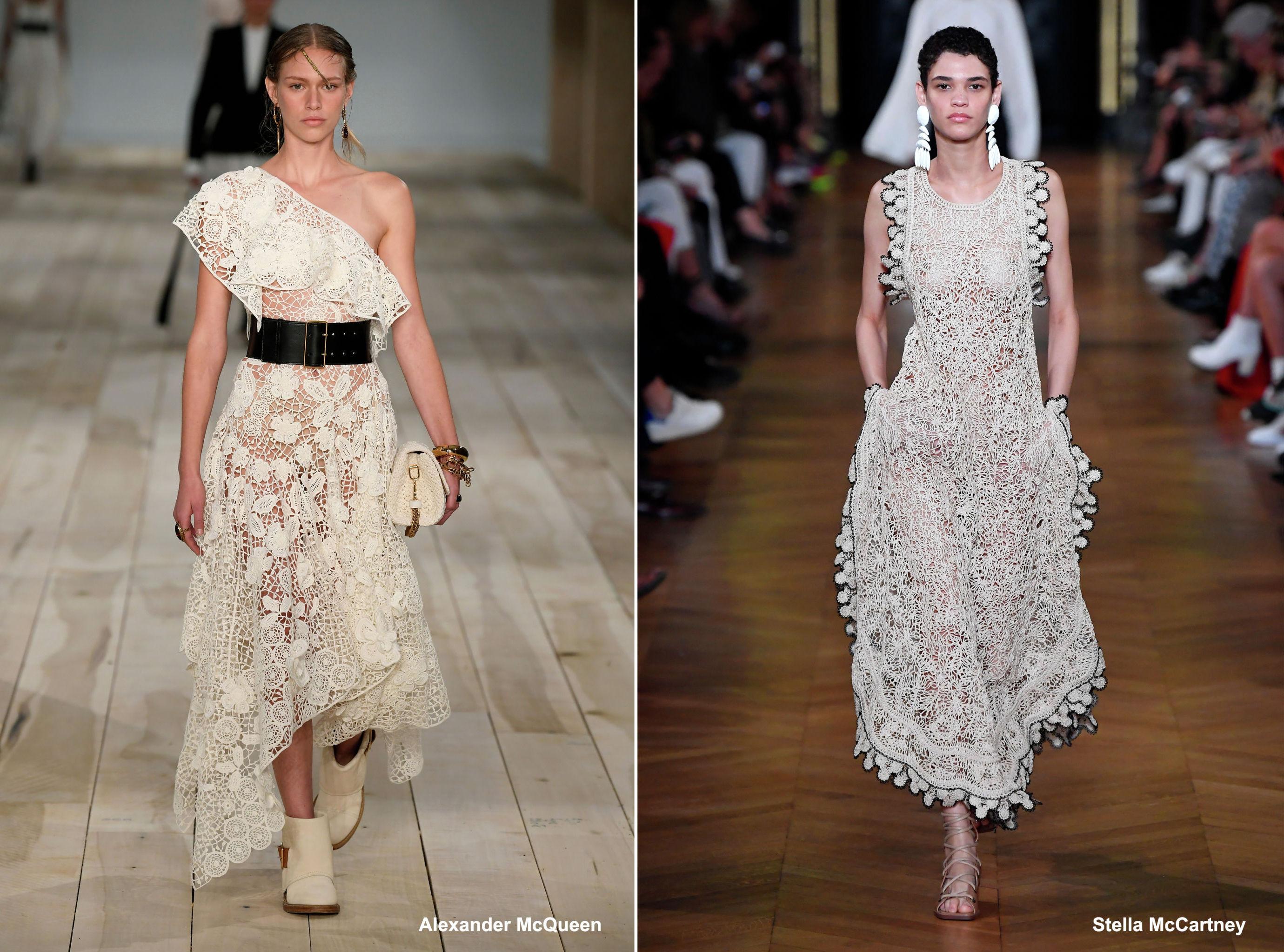 Плетеные кружева и вязаные узоры от Alexander McQueen и Stella McCartney, весна-лето – 2020