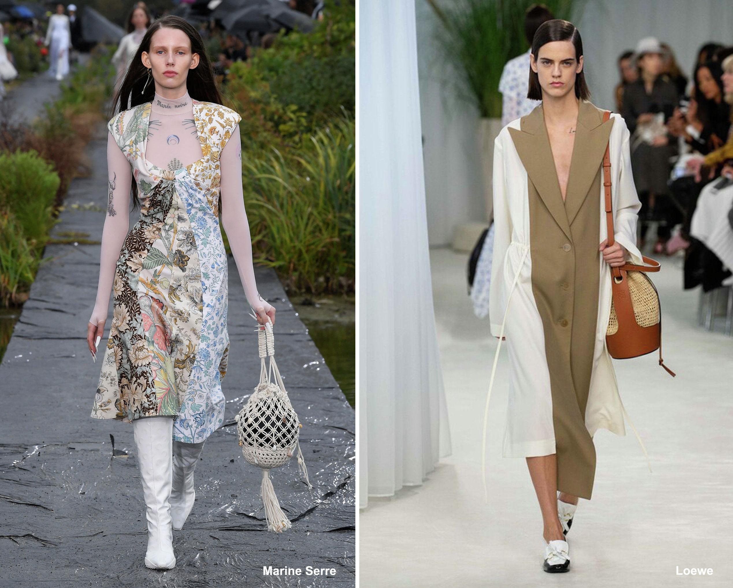 Плетеные сумки Marine Serre и Loewe, весна-лето – 2020