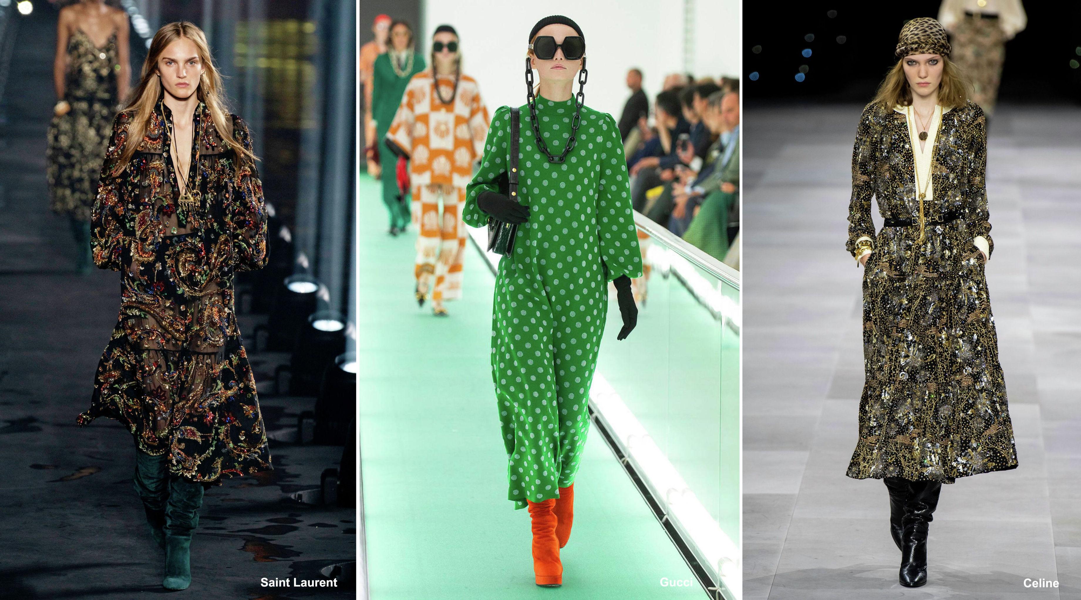 Платья из коллекций будущего сезона — Saint Laurent, Gucci и Celine, весна-лето – 2020