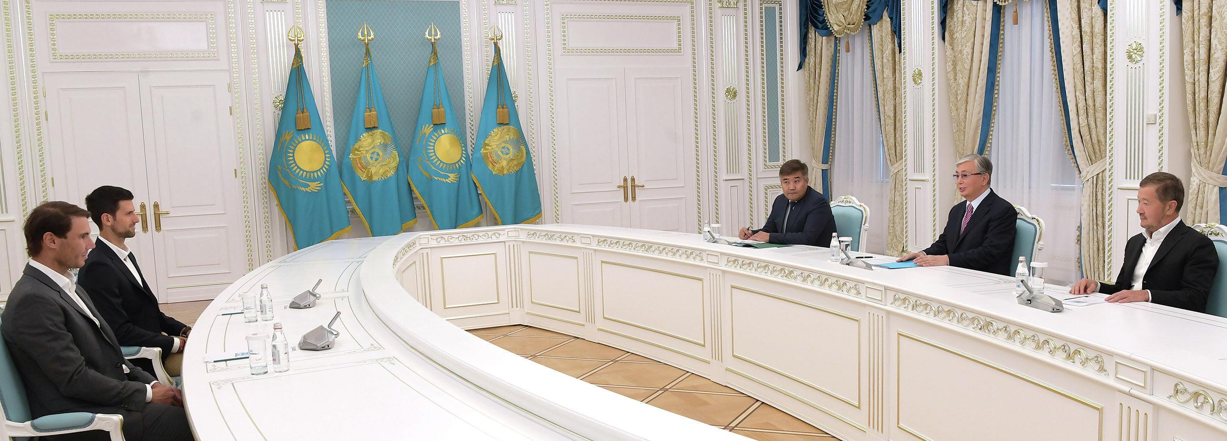 Касым-Жомарт Токаев встретился со звездами мирового тенниса Рафаэлем Надалем и Новаком Джоковичем
