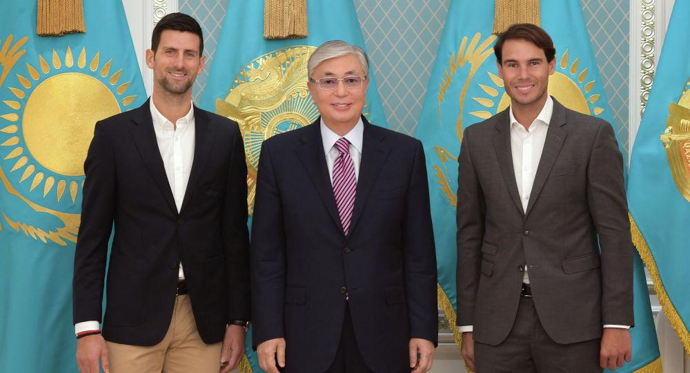 Қасым-Жомарт Тоқаев әлем теннисінің жұлдыздары Рафаэль Надальмен және  Новак Джоковичпен кездесті