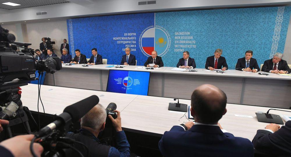 Президенттер Қасым-Жомарт Тоқаев пен Владимир Путин Ресей мен Қазақстанның өңіраралық ынтымақтастық форумына қатысты