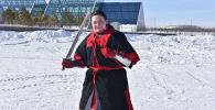 Участница поединков по историческому средневековому бою