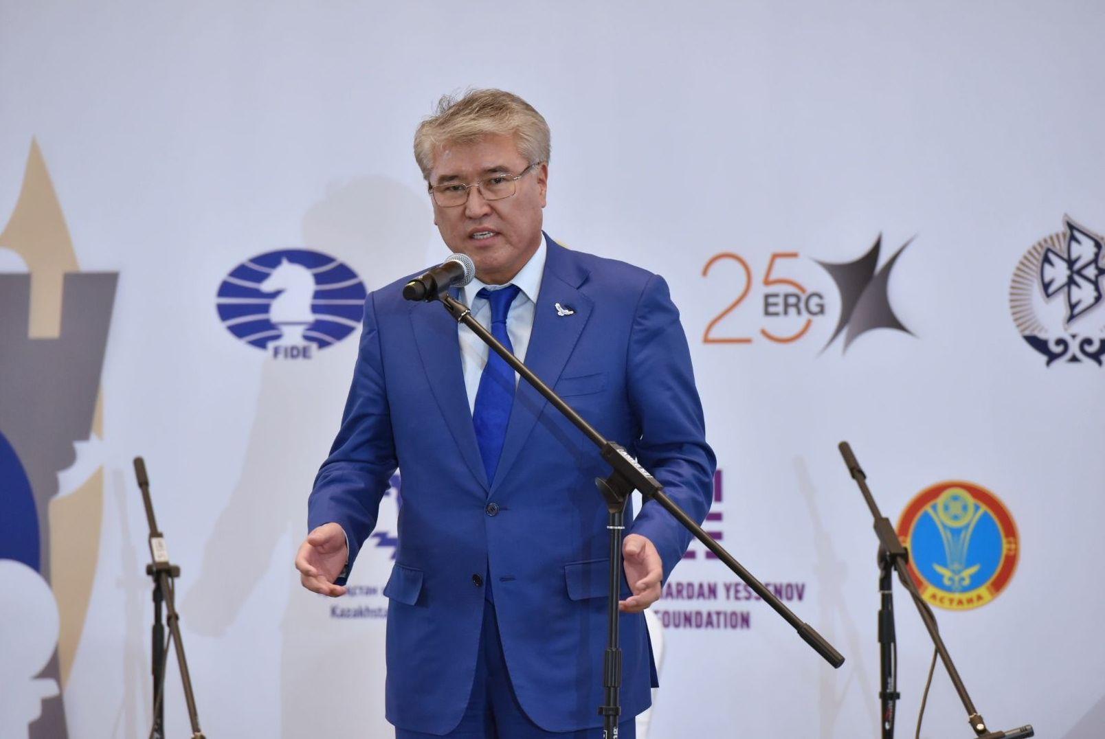 Арыстанбек Мухамедиулы на открытии Чемпионата мира по шахматам среди женщин в Астане