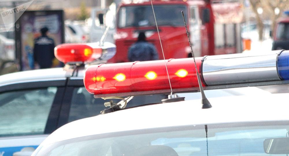 Мигалки на автомобиле полиции, архивное фото