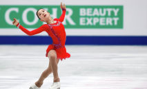 Элизабет Турсынбаева (Казахстан), завоевавшая серебряную медаль в женском одиночном катании на чемпионате мира по фигурному катанию в Сайтаме