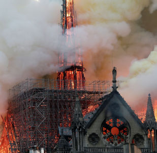 Собор Парижской Богоматери (Нотр-Дам-де-Пари) горел во Франции (Париж)
