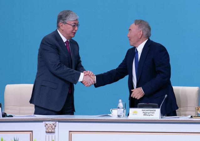 Президент Казахстана Касым-Жомарт Токаев, Лидер нации, председатель партии Nur Otan Нурсултан Назарбаев