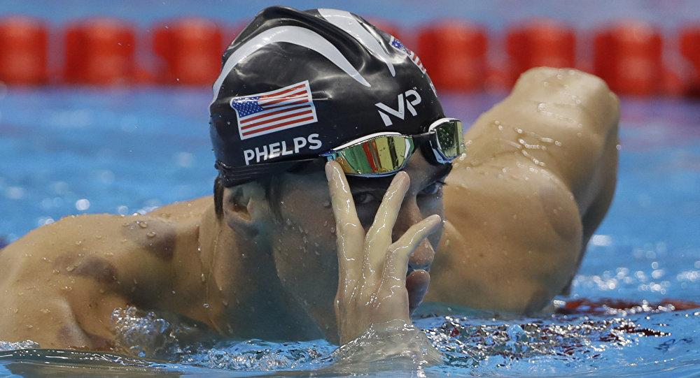 Американский пловец Майкл Фелпс. Рио 2016.