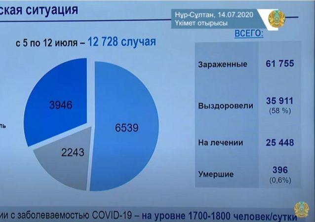 Скриншот презентации об эпидемиологической ситуации в Казахстане с заседания правительства