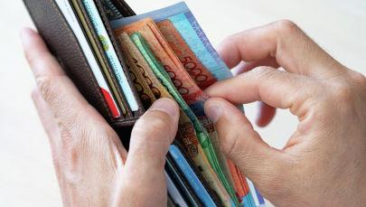 Портмоне, деньги, тенге, купюры