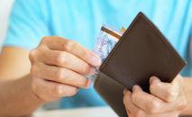 Деньги, портмоне, тенге купюры