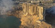 Разрушенное хранилище топлива в Бейруте после взрыва