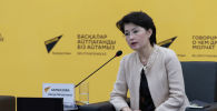 Президент АО Центр международных программ Айнур Карбозова на брифинге в пресс-центре Sputnik Казахстан