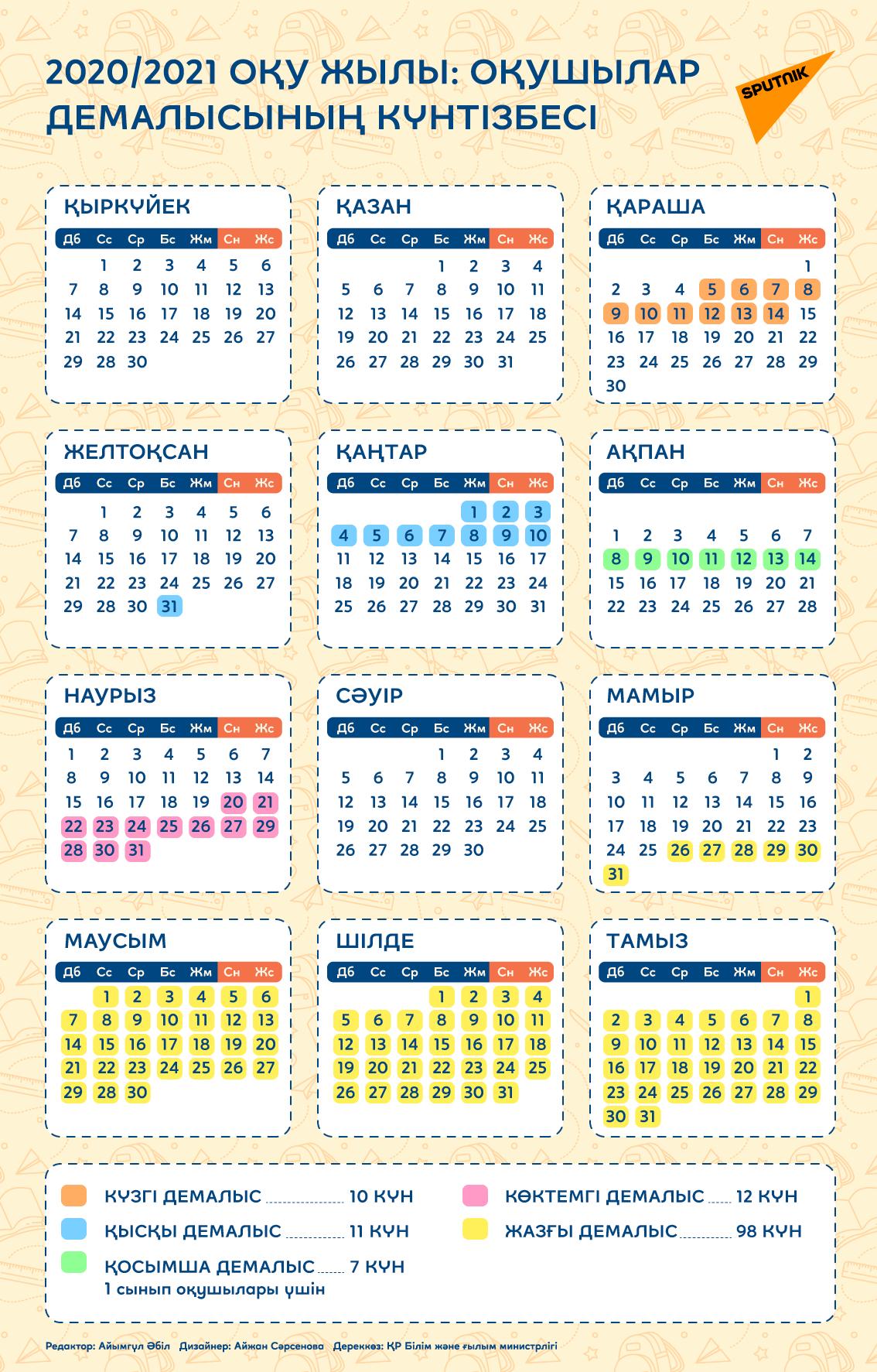 2020/2021 оқу жылындағы оқушылар демалысының күнтізбесі