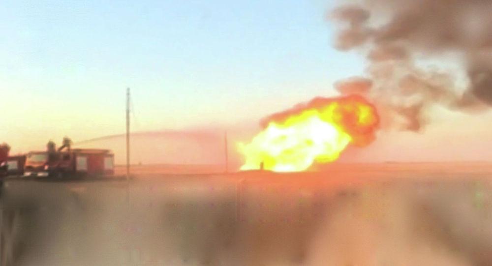 Взрыв газопровода под Дамаском оставил Сирию без электричества - видео пожара
