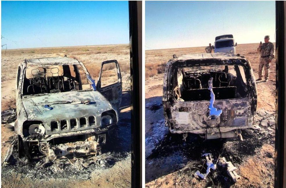 Сгоревший автомобиль путешественников