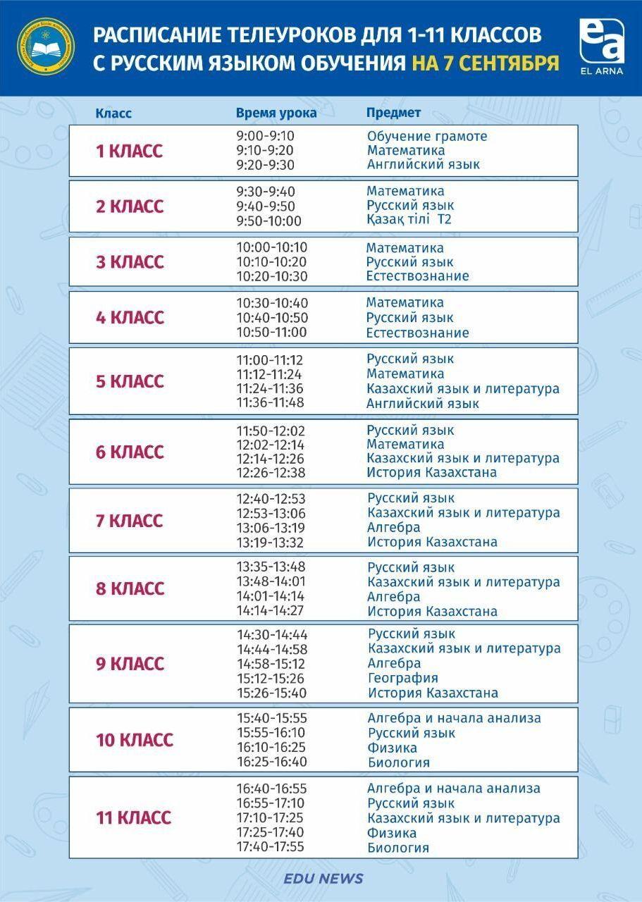 Расписание для школ с русским языком обучения