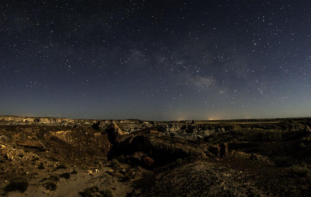 Аризонадағы Петрифиед Форест ұлттық саябағы үстіндегі жұлдызды аспан.