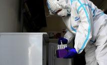 Медик складывает пробирки с пробами для анализов на коронавирус для транспортировки в лабораторию