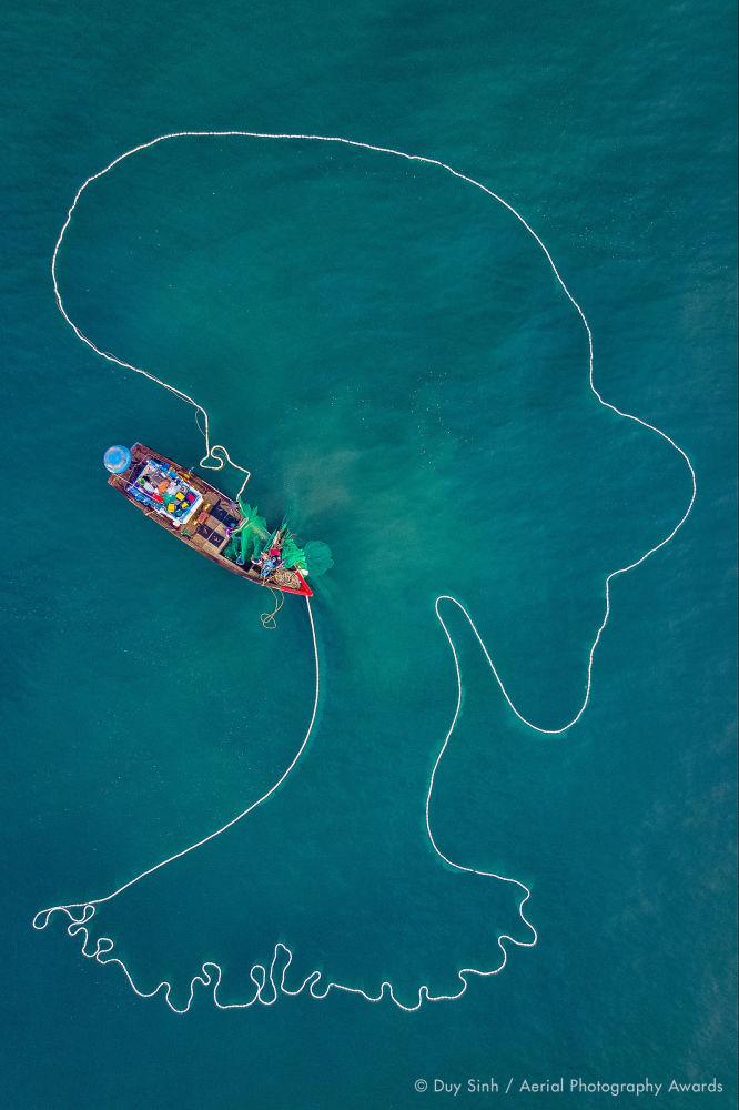 Балықшы торды көгілдір су айдынына жайып жіберді, ал толқындар теңіз иесінің сұлбасын кездейсоқ жасап шығарады. Вьетнамдық фотограф Duy Sinh бұл суретімен Daily Life аталымында басқалардан оқ бойы озық болды.
